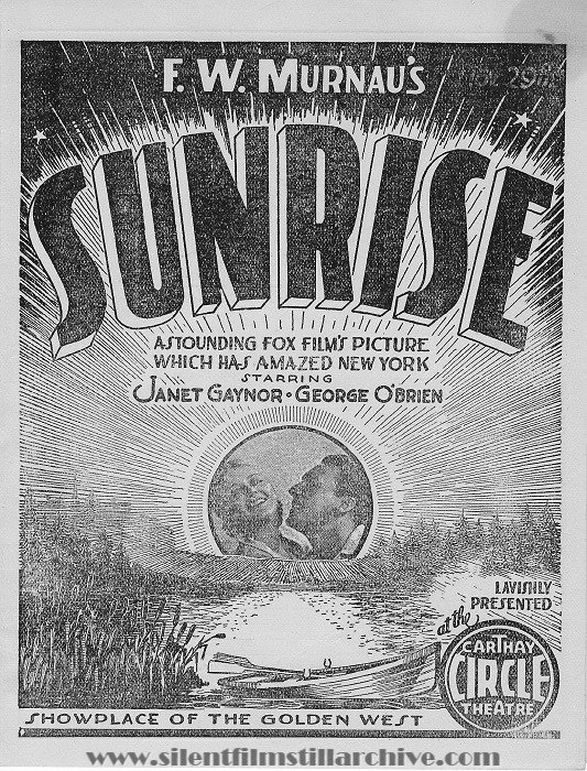 Los Angeles Carthay Circle Theatre program for SUNRISE (1927)