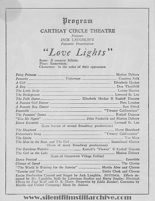 Los Angeles Carthay Circle Theatre program featuring SUNRISE (1927) with Janet Gaynor and George O'Brien