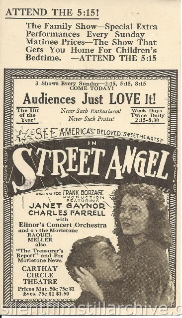 Carthay Circle Theatre, Los Angeles, California, advertising postcard for STREET ANGEL (1928) with Janet Gaynor and Charles Farrell