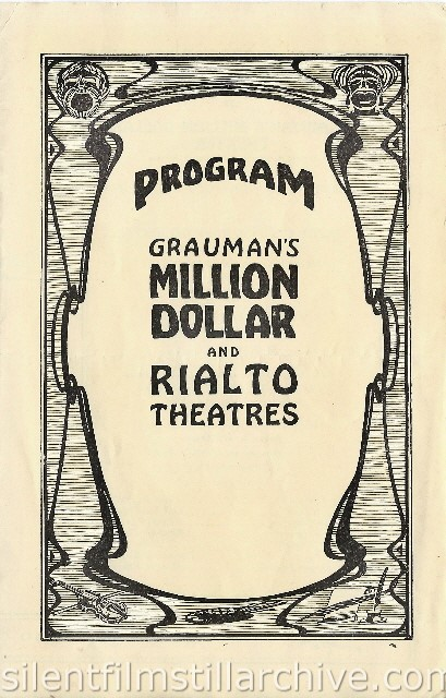 Million Dollar Theater and Rialto Theatre program for October 13, 1924