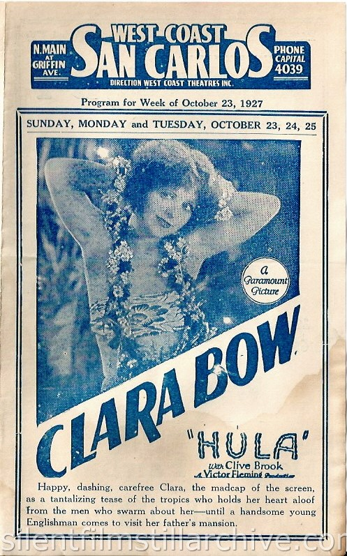 Los Angeles, California, San Carlos Theatre program for the week of October 23, 1927, featuring Clara Bow in HULA (1927).