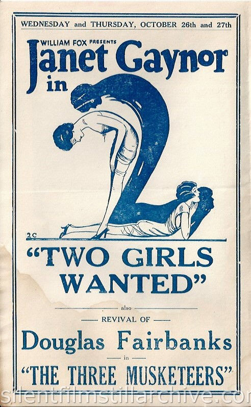 Los Angeles, California, San Carlos Theatre program for the week of October 23, 1927, featuring Janet Gaynor in TWO GIRLS WANTED.