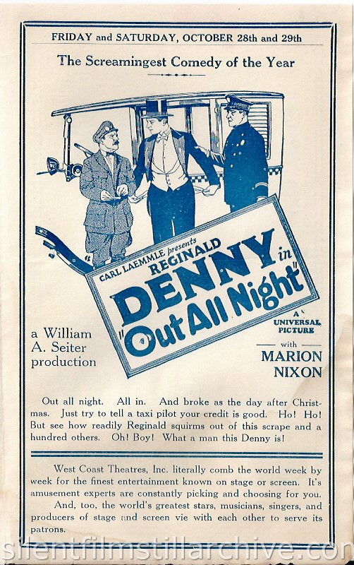 Los Angeles, California, San Carlos Theatre program for the week of October 23, 1927, featuring Reginald Denny in OUT ALL NIGHT.