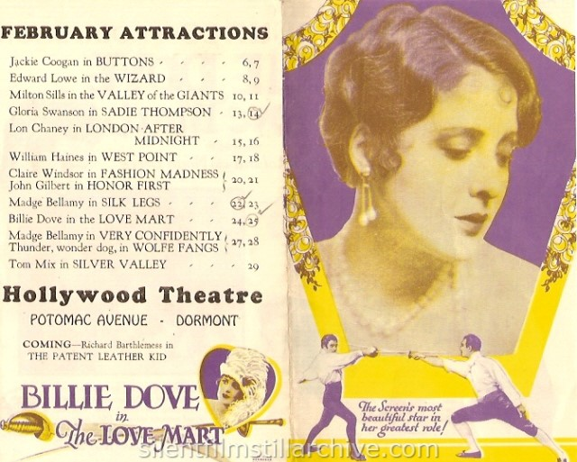 THE LOVE MART (1927) advertising herald from The Hollywood Theatre in Pittsburgh, Pennsylvania