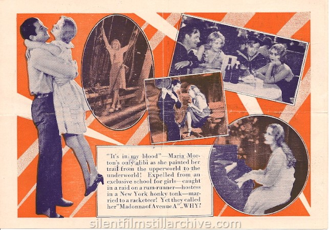 MADONNA OF AVENUE A (1929) herald with Dolores Costello