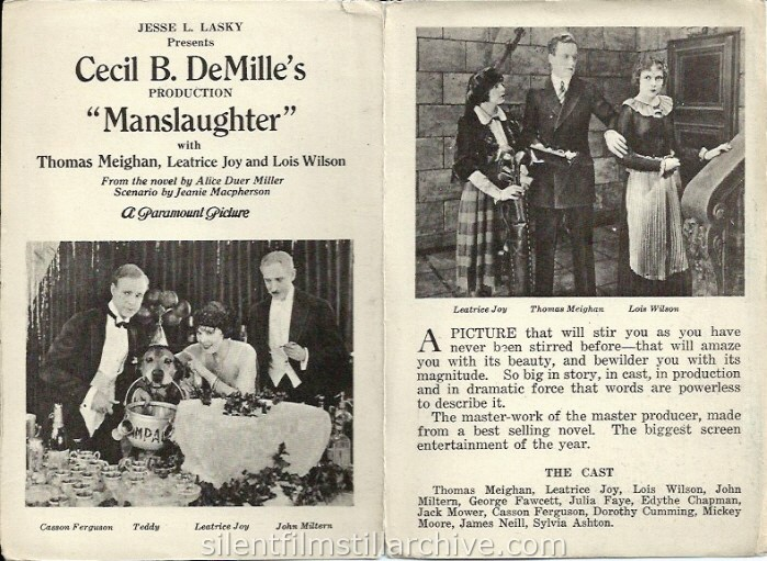 MANSLAUGHTER (1922) advertising herald with Thomas Meighan and Leatrice Joy showing at the Opera House in Idaho Springs, Colorado