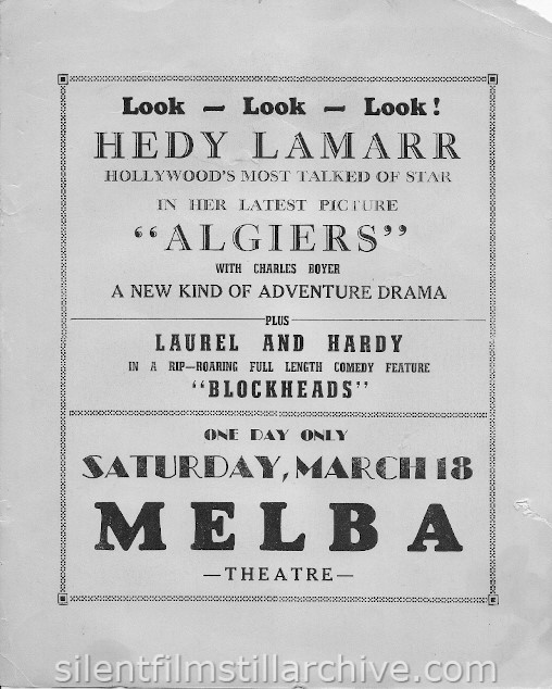Melba Theatre handout advertising Hedy Lamaar in ALGIERS and Laurel and Hardy in BLOCKHEADS
