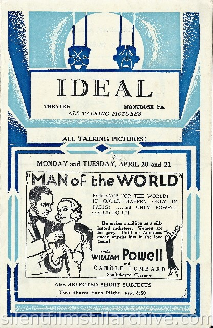 Ideal Theatre program in Montrose, Pennsylvania