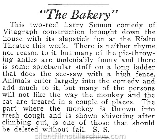 Moving Picture World review of THE BAKERY (1921) with Larry Semon