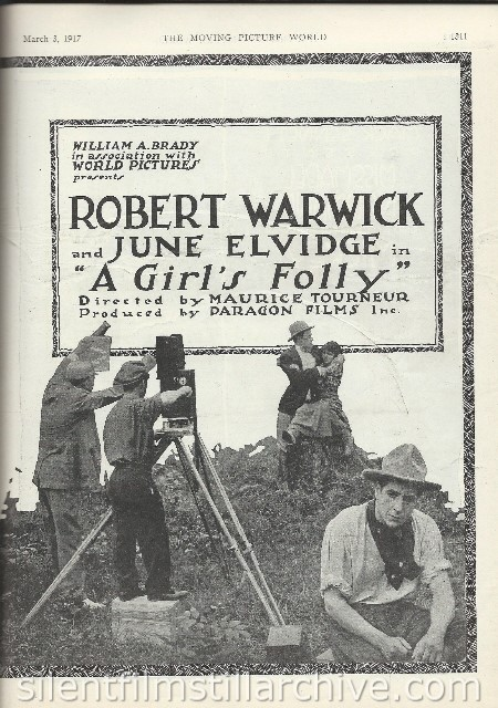 Moving Picture World Ad for A GIRL'S FOLLY (1917)with Robert Warwick and Doris Kenyon
