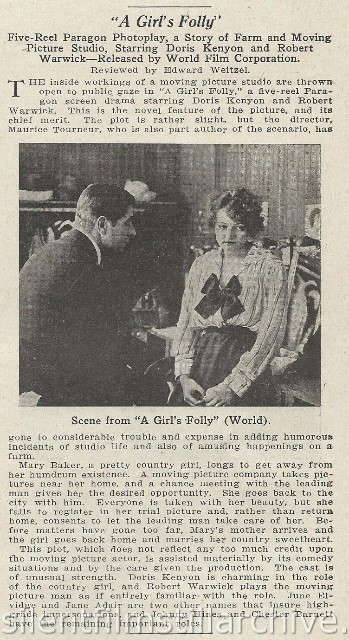 Moving Picture World Review of A GIRL'S FOLLY with Robert Warwick and Doris Kenyon