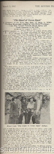 Moving Picture World review of THE HEART OF TEXAS RYAN (1917) with Tom Mix