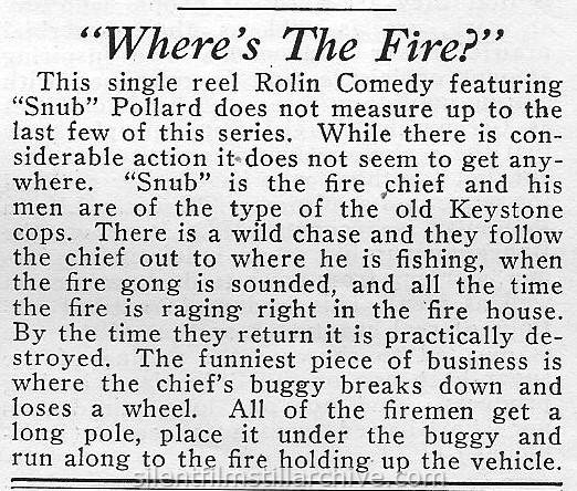 Moving Picture World review of WHERE'S THE FIRE (1921) with Snub Pollard