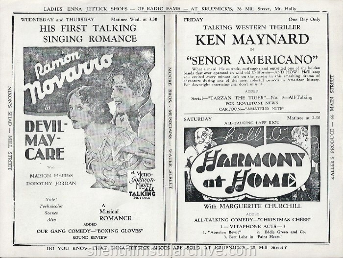 Mount Holly, New Jersey, Fox Theatre program for the week of March 10, 1930, featuring Ramon Novarro in DEVIL-MAY_CARE (1929), and HARMONY AT HOME (1930).