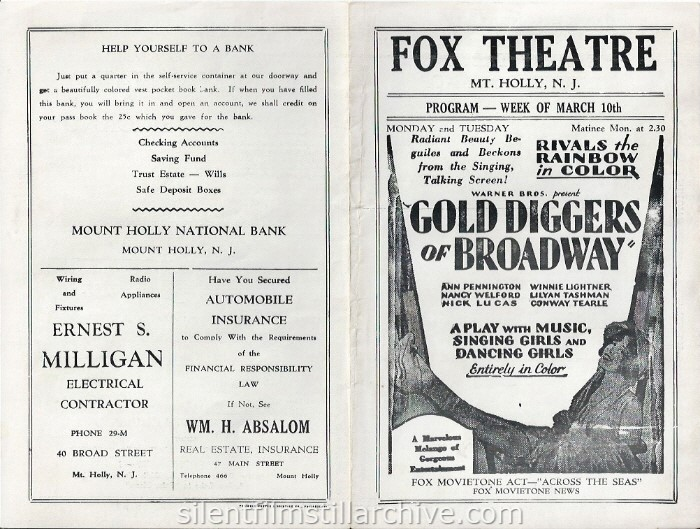 Mount Holly, New Jersey Fox Theatre program for the week of March 10, 1930, featuring GOLD DIGGERS OF BROADWAY (1930).