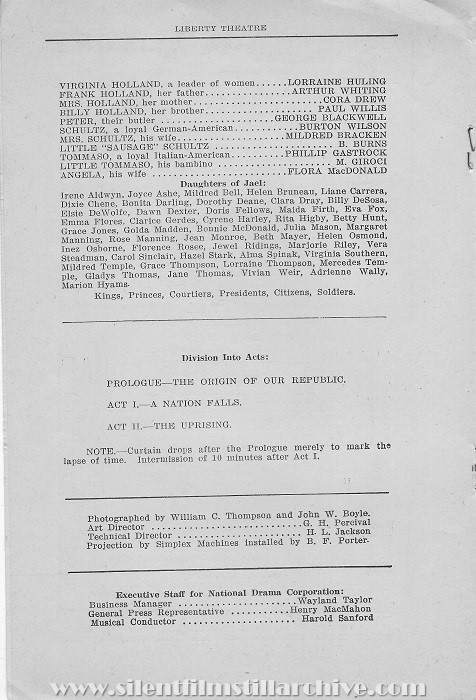 New York Liberty Theatre program for THE FALL OF A NATION (1916), week of June 19, 1916