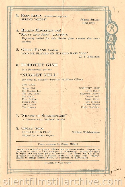Rialto Theatre, New York City program