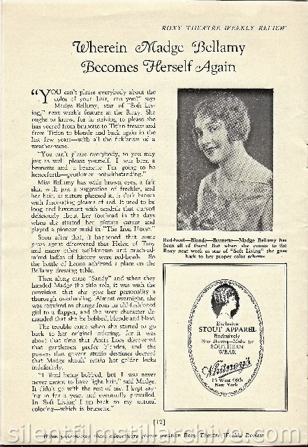 Roxy Theatre program with Madge Bellamy article