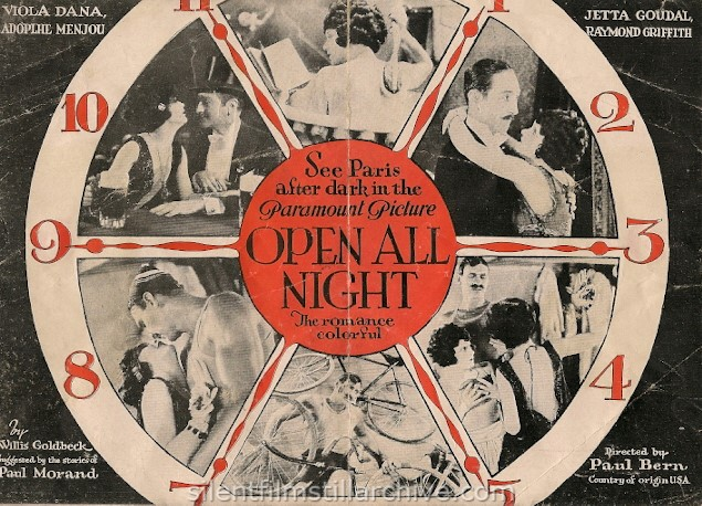 OPEN ALL NIGHT (1924) movie herald with Adolphe Menjou, Viola Dana, Jetta Goudal and Raymond Griffith