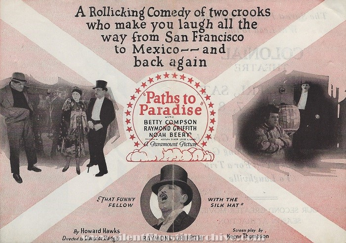 Flyer for PATHS TO PARADISE with Raymond Griffith and Betty Compson