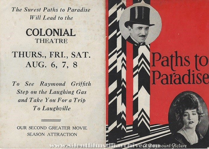 Flyer for PATHS TO PARADISE with Raymond Griffith and Betty Compson from the Colonial Theatre