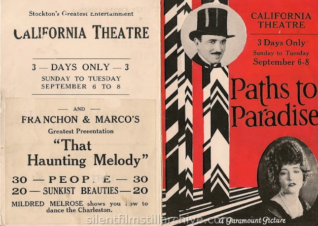 Flyer for PATHS TO PARADISE with Raymond Griffith and Betty Compson from the California Theatre in Stockton