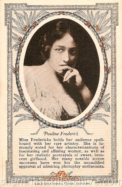 Pauline Frederick theater advertisement card