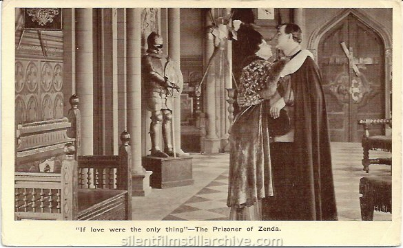 Postcard for THE PRISONER OF ZENDA (1913) with James K. Hackett, playing at the Amphion Theatre in Brooklyn, New York.