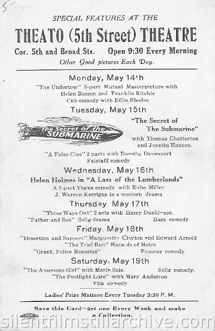 Theato Theatre program, Richmond, Virginia, May, 14 1917