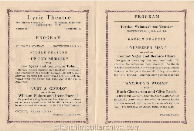 Rochester, New York Lyric Theatre program, November 8, 1931