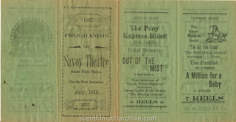 Savoy South Paris Theatre program