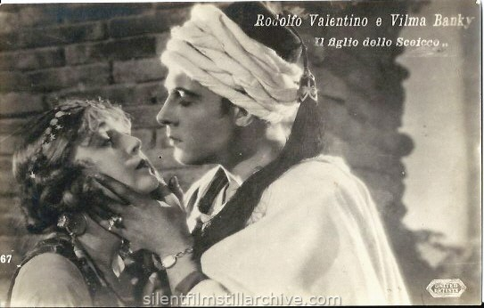 Vilma Banky and Rudolph Valentino in THE SON OF THE SHIEK (1926) postcard