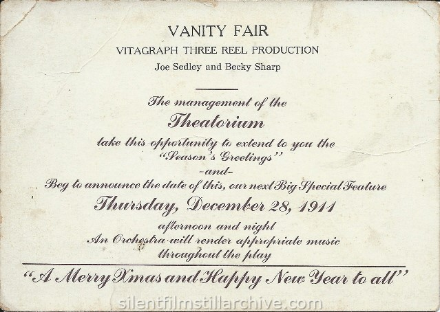 VANITY FAIR (1911) advertisement at the Theatorium