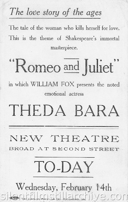 "Theda Bara advertising card for ""Romeo and Juliet"" at the New Theatre in Richmond Virginia"