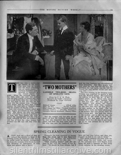 Moving Picture Weekly article on TWO MOTHERS (1916)