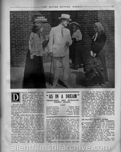 Moving Picture Weekly article on AS IN A DREAM (1916) with Sydney Ayres