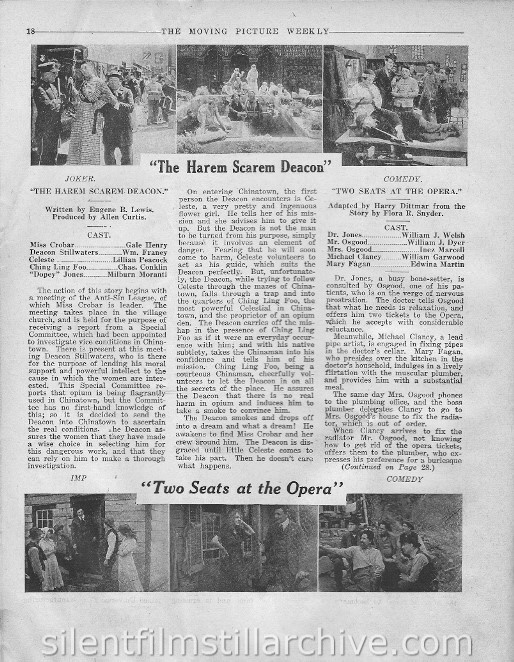 The Moving Picture Weekly, July 8, 1916, synopsis for TWO SEATS AT THE OPERA with William Welsh and William Dyer