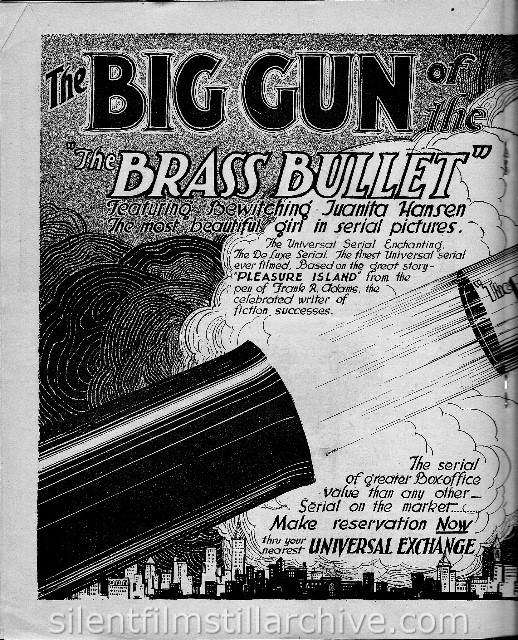 Moving Picture Weekly August 17, 1918 ad for LOCKED IN THE TOWER, Chapter 3 fromTHE BRASS BULLET (1918)