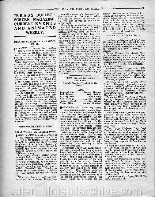 Moving Picture Weekly August 17, 1918 synopsis for LOCKED IN THE TOWER, Chapter 3 fromTHE BRASS BULLET (1918)