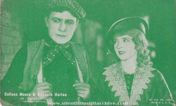 Arcade card with Kenneth Harlan and Colleen Moore in TWINKLETOES (1926).