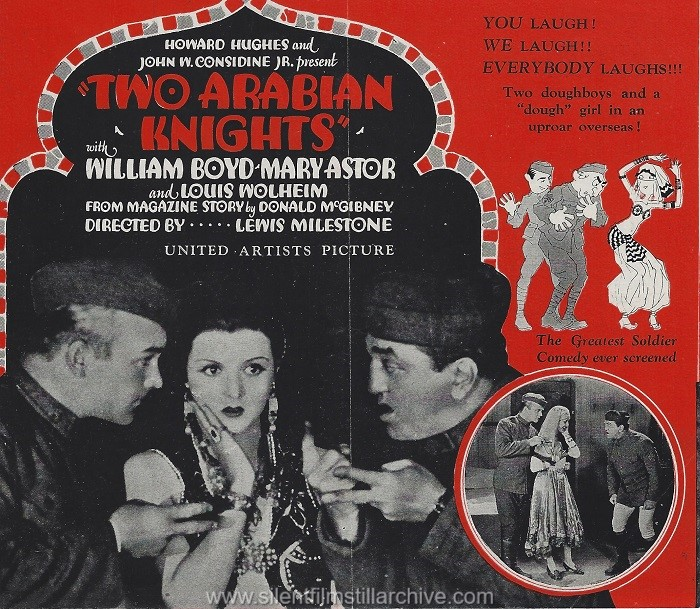 Herald for TWO ARABIAN KNIGHTS (1927) with William Boyd, Louis Wolheim and Mary Astor