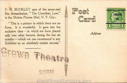 Postcard for THE UNWRITTEN LAW (1916), playing at the Crown Theatre in Chicago, Illinois.