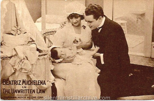 Postcard for THE UNWRITTEN LAW (1916) with Beatriz Michelena.