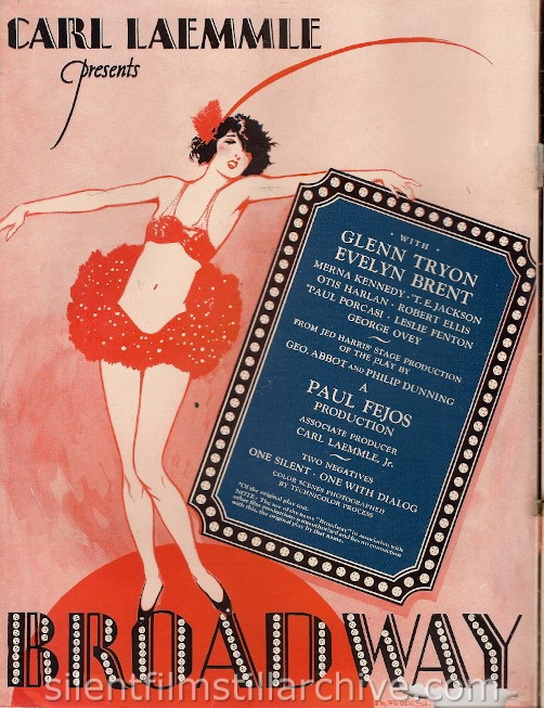 Universal Weekly magazine inside front cover for May 4, 1929 featuring BROADWAY (1929)