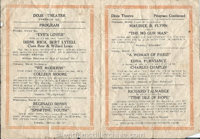 Vandalia, Illinois, DixieTheatre program