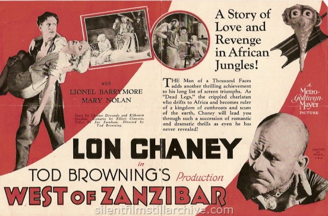 Advertising herald for Lon Chaney in WEST OF ZANZIBAR (1928)