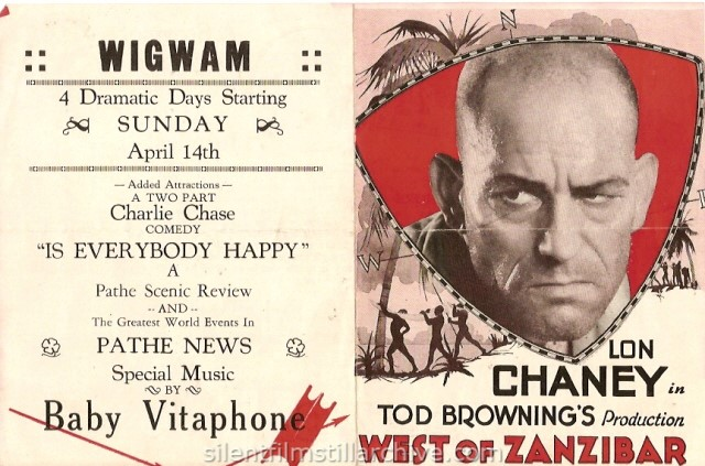 Advertising herald for Lon Chaney in WEST OF ZANZIBAR (1928), showing at the Wigwam Theater