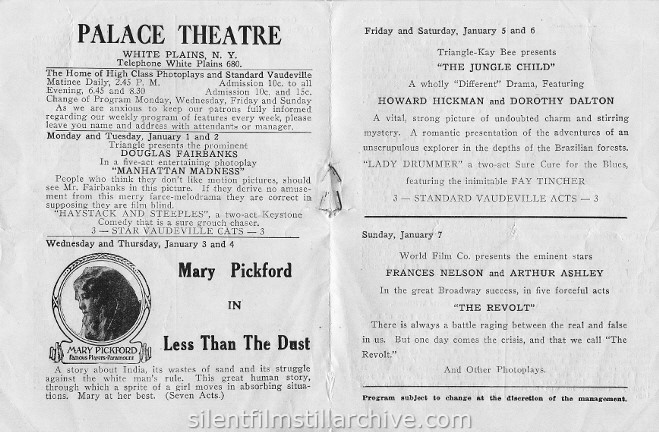 Palace Theatre program, White Plains, New York,  1917