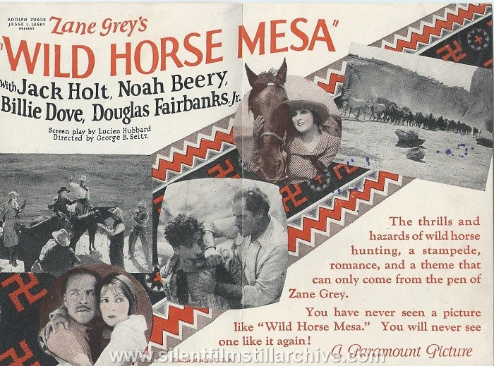 Herald for WILD HORSE MESA (1925) with Jack Holt, Noah Beery and Billie Dove, showing at the American Theatre in Canton, New York