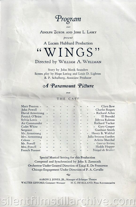 WINGS (1927) program from the Erlanger Theatre in Chicago, Illinois